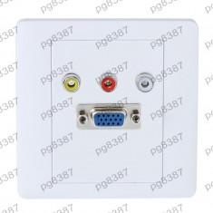 Priza VGA, 15 pini, 3 X RCA mama, fixare in perete - 111906