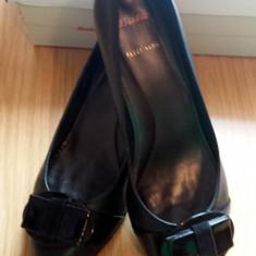 Pantofi piele Bata, marimea 37 - Pantof dama Bata, Culoare: Negru, Negru, Cu toc