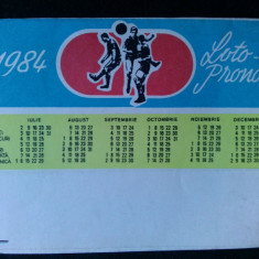 "Calendar publicitar "" LOTO PRONO"" - 1984 - Calendar colectie"