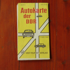 Harta rutiera DDR - Autokarte der DDR - 1977