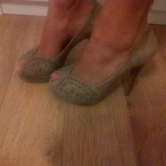 Pantofi Zara - Pantof dama, Culoare: Bej, Marime: 37, Bej