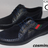 Pantofi Casual GUCCI - 100% Piele Naturala - Negru / Bleumarin / Maro !!! - Pantofi barbat Gucci, Marime: 43
