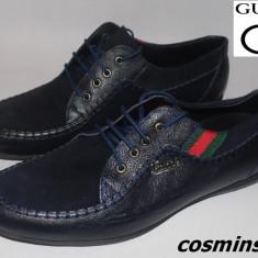 Pantofi Casual GUCCI - 100% Piele Naturala - Negru / Bleumarin / Maro !!! - Pantof barbat Gucci, Marime: 43