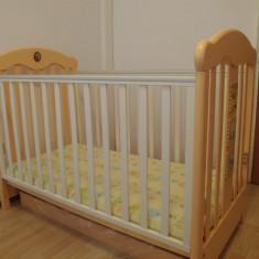 Patut copii Baby Italia + Saltea cocos - Patut lemn pentru bebelusi, Alte dimensiuni, Crem
