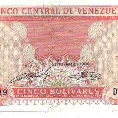 Bancnota-VENEZUELA-5 BOLIVARES1989