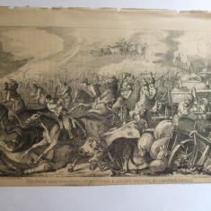Gravura Prinderea unui transport cu provizii al armatei turcesti de catre cavaleria romana 22 x 15 cm 1878 - Reproduceri arta