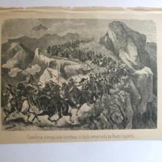 Gravura Cavaleria neregulata turceasca in Asia urmarind pe rusii fugariti 22 x 15 cm 1878 - Reproduceri arta