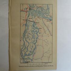 Harta color Galati, Braila, Macin. Podul de la Braila 22 x 15 cm 1878 - Reproduceri arta