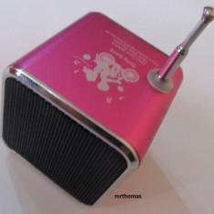 MP3 player tip boxa difuzor cu radio slot micro SD si acumulator intern - Roz