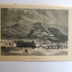 Gravura Gara Plovdiv Bulgaria 22 x 15 cm 1878 - Reproduceri arta