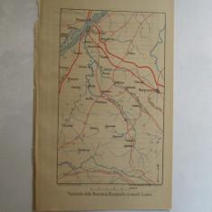 Harta color Bulgaria Rusciuc Rasgrad si raurile Lomu 22 x 15 cm 1878 - Reproduceri arta