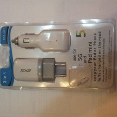 Incarcator compatibil iPhone 5, 5C 3 IN 1:adaptor auto, cablu de date - Incarcator telefon iPhone, De masina