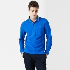 Lacoste regular fit long-sleeved polo with edging | Bluze LACOSTE S si M - Tricou barbati, Marime: S, M, Culoare: Albastru, Maneca lunga, Bumbac