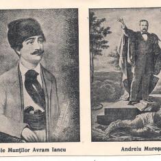 (A) carte postala-PERSONALITATI-Regele muntilor Avram Iancu si Andrei Muresanu