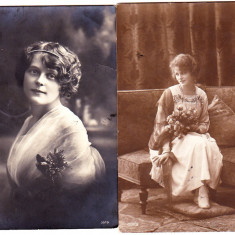 Lot 2 carti postale circulate in 1914 si 1925, femei frumoase, coafura si imbracaminte dupa moda vremii