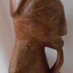 ARTA AFRICANA STATUETA OMUL CU PIPA LANT DUBLU 70CM SCULPTATA LEMN DE MASLIN - Arta din Africa