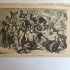 Gravura Rapire de copii prin basibozuci 22 x 15 cm 1878 - Reproduceri arta