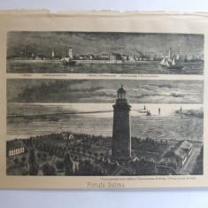 Gravura Portul Sulina Spitalul Bisericile evanghelica si greaca Turnurile luminate 15 x 22 cm 1878 - Reproduceri arta