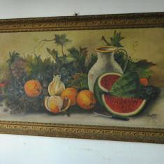 VAND UN VECHI TABLOU PICTURA PE PANZA,SEMNAT STELA 1930, Natura statica, Ulei, Altul