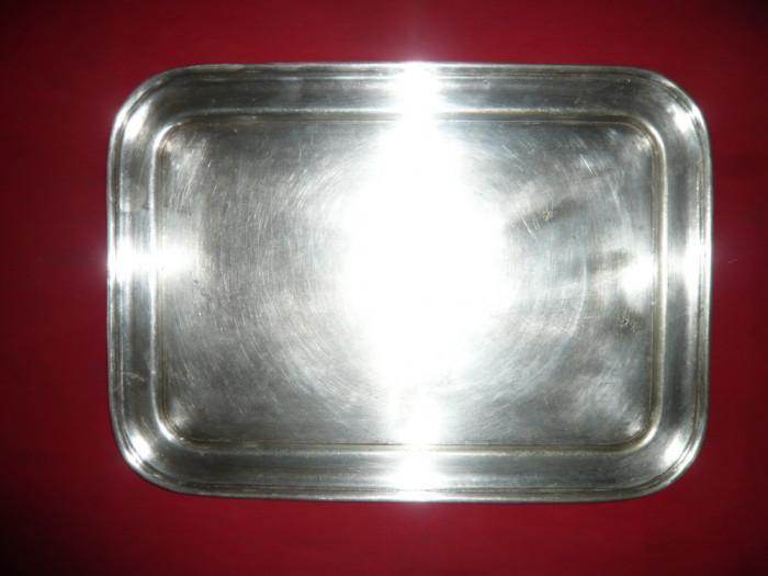 Tava veche Art Deco- alpaca argintata 46x33 cm ,1,7 kg
