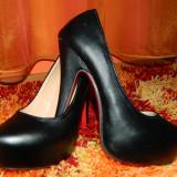 Pantofi platforma - Pantof dama, Culoare: Negru, Marime: 36