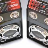 2 boxe amplificate/active ,BASS 12 INCH,MIXER INCLUS,EFECTE VOCE,ORGA LUMINI,MP3 PLAYER+MICROFOANE BONUS! 320 WATT.