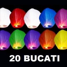 Set 20 Lampioane zburatoare colorate sky lanterns . Oferta Promotionala evenimente festive Nunti Botezuri Petreceri Aniversari
