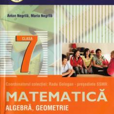 MATEMATICA ALGEBRA, GEOMETRIE - CULEGERE PT CLASA A VII A PARTEA A II A de ANTON NEGRILA MATE 2000+ 11/12 ED. PARALELA 45 - Culegere Matematica