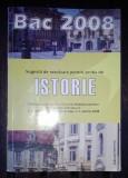 Carte - Sugestii de rezolvare pentru proba de istorie - Bac 2008