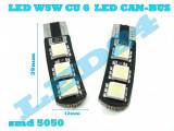 LED-URI AUTO BEC LED - W5W T10 6 SMD 5050 POZITIE, PLAFONIERA, NUMAR CANBUS, Universal, Houde