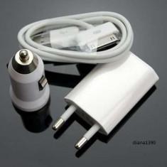 Incarcator 3 in 1 Perete Auto si USB pentru iPhone 3G 3GS 4 4S iPod