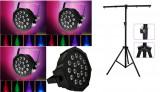 Cumpara ieftin SET 4 PARI CU LEDURI RGB 18LED/18WATT,DMX 512+ STATIV LUMINI,PRINDERI INCLUSE.
