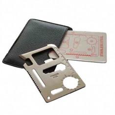 Card de supravietuire 10 in 1, dimensiuni 4.5cm x 7cm, cutit, fierastrau, surubelnita, chei hexagonale, etc