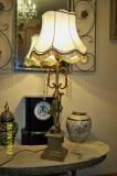 Lampa stil veioza americana inalta metal si cristal