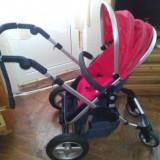 Carucior Firstwheels - Carucior copii 2 in 1, Pliabil, Rosu, Maner reversibil