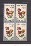 No(2)timbre-Romania 1986-L.P.1160-Flori.-Bloc de 4 deparaiate
