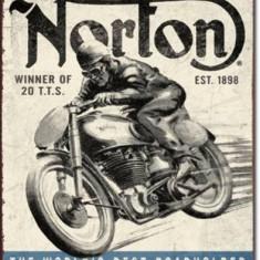 126.Reclama metalica vintage NORTON - Cutie Reclama