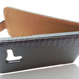 Toc piele neagra flip Samsung Galaxy Ace Plus s7500 husa black leather + folie protectie ecran + expediere gratuita - Husa Telefon