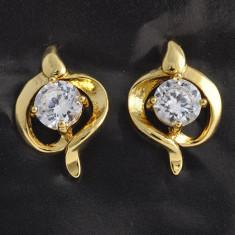 Cercei dublu placati aur 18K cristale zirconiu, cod A9 - Cercei placati cu aur