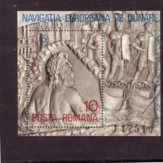 Romania 1977 - VAPOARE PE DUNARE, colita DANTELATA nestampilata, Z24
