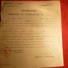 Ordin de Mobilizare pt. Nemobilizabili 1939 - Pasaport/Document, Romania 1900 - 1950