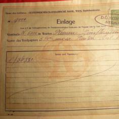 Chitanta Bancara Austro-Ungaria Wiena cu Timbru Control 1919, Europa