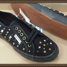OFERTA! Tenisi panza dama SUPERGA People's shoes of Italy ORIGINALI NOI Sz 39, 5 - Tenisi dama Superga, Culoare: Negru, Textil