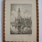 Grafica semnata si datata Stockholms 1923 - Pictor strain, Peisaje, Realism
