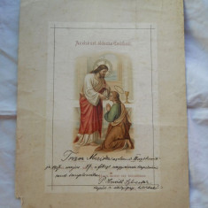 Document Vechi Religios Catolic 1917 Marturie Prima Impartasanie - Diploma/Certificat