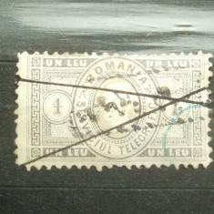 ROMANIA 1 LEU 1871 / SERVICIUL TELEGRAFIC / RAR - Timbre Romania, Stampilat