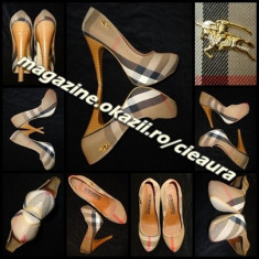 PANTOFI DAMA PANZA IMPRIMEU CLASIC GEN firma BURBERRY PLATFORMA ASCUNSA TOC 13cm - Pantof dama Burberry, Culoare: Negru, Marime: 38, Textil