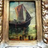 Peisaj cu barci semnat-ulei pe carton Florian ( Dobosariu) - Pictor roman