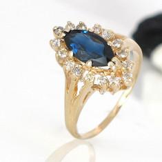 Inel superb diamante cu safir 0, 32krt reducere - Inel diamant, Carataj aur: 14k, Culoare: Galben, 46 - 56