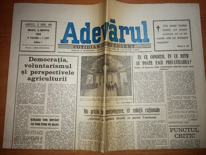 ziarul adevarul 6 martie 1990 foto mare